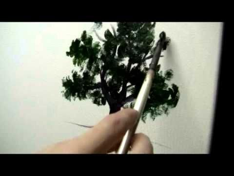 ▶ How to Paint a Simple Tree - Acrylic Painting Lesson - YouTube