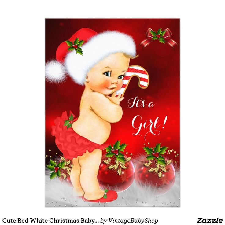 Cute Red White Christmas Baby Shower Girl Blonde 5x7 Paper Invitation Card