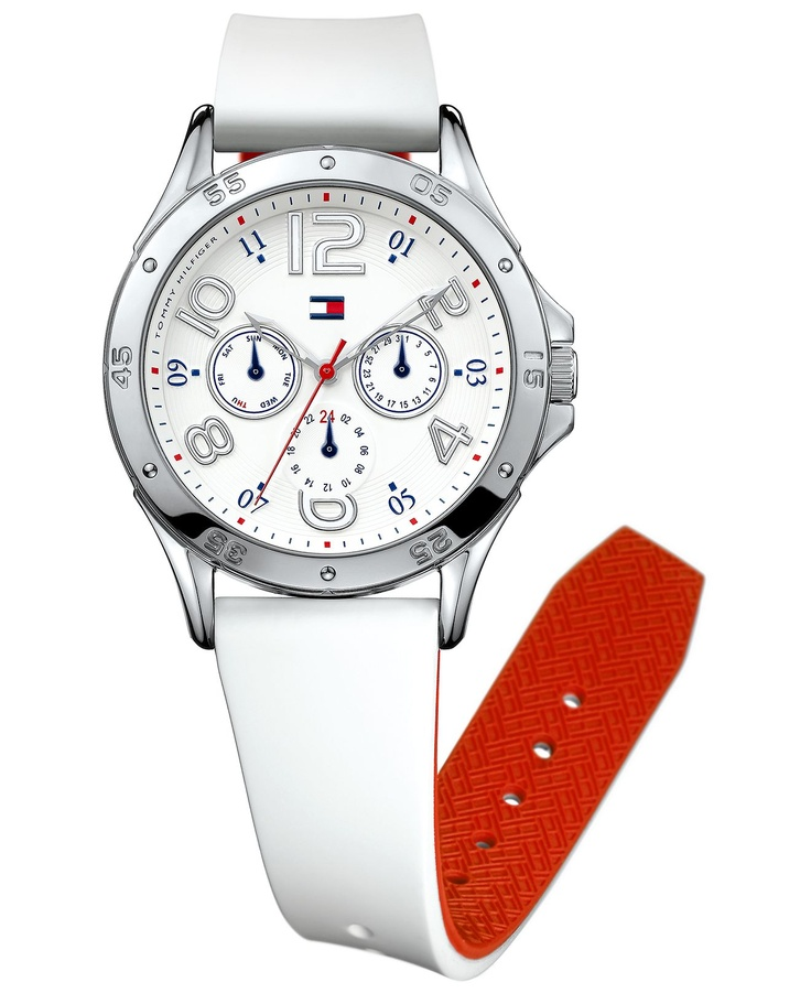 Tommy Hilfiger Watch, Women's Chronograph White Silicone