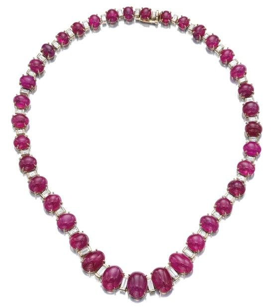 RUBY AND DIAMOND NECKLACE, BULGARI. Designed as a …