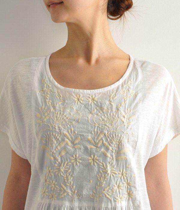 刺繍×スラブチュニック(ホワイト)