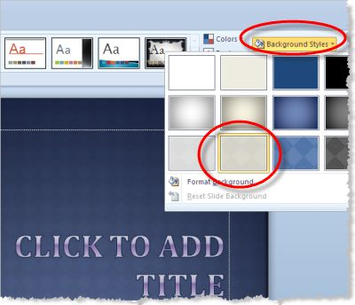 Design Themes in PowerPoint 2010: PowerPoint Background Styles of Design Themes