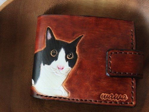 Custom pet cat portrait umber pure leather double short clip (made Valentine, birthday gifts)