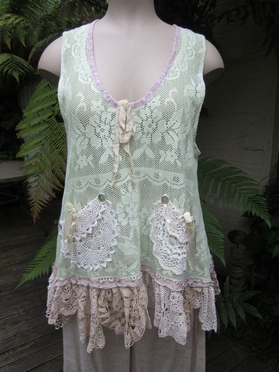 Diy ideas for vintage lace, ribbon,and doilies. Vintage Kitty..upcycled vintage cotton lace by sistersroseandruby,