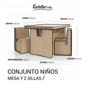 Kartelier muebles de cart n conjunto de mesa y sillas - Mesas de carton ...