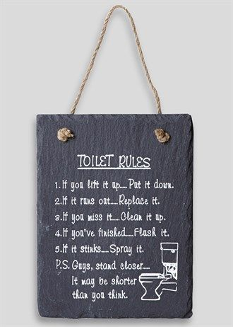 Add a novelty touch to your bathroom with this fantastic slate plaque. The…