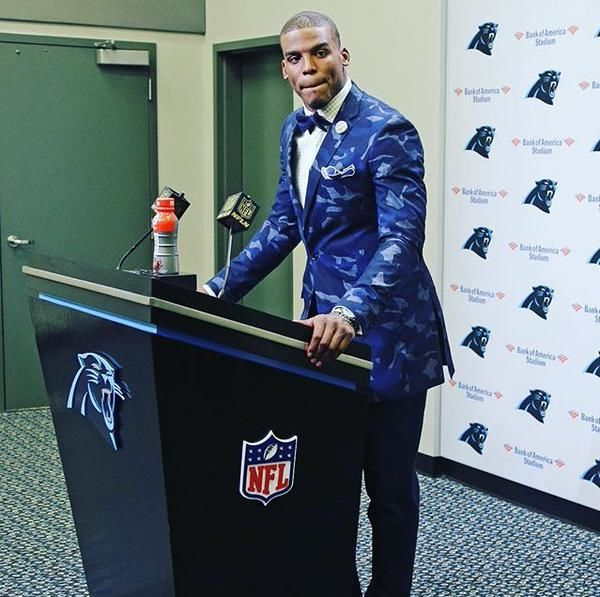 Cam Newton Rocks a Camo Suit Jacket at a Press Conference and Gets Clowned by the Internet | Complex