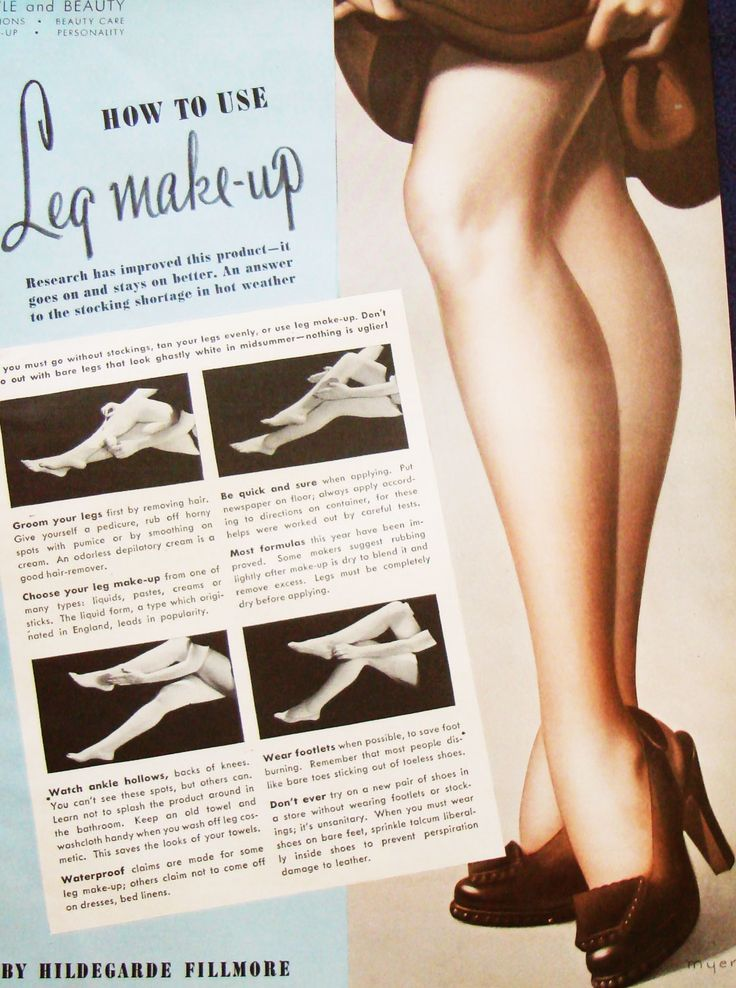 WW2 era instructions on how to use leg Makeup. Popular brands of the day included Max Factors Pan stick,Helena Rubinstein's Leg Stick, Ann Barton's Leg make-up,Leg Charm from Cosmetic House and Harriet Hubbard Ayer's Stocking Lotion.