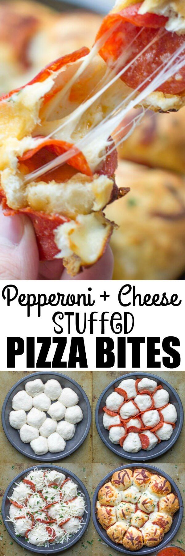 Skip the pizza delivery! Enjoy these easy, cheesy pepperoni Pizza Bites hot and fresh from the oven. You'll want to double the batch! via @culinaryhill