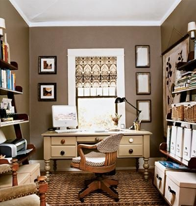 Dens libraries offices brown neutral home office aupe for Small room office