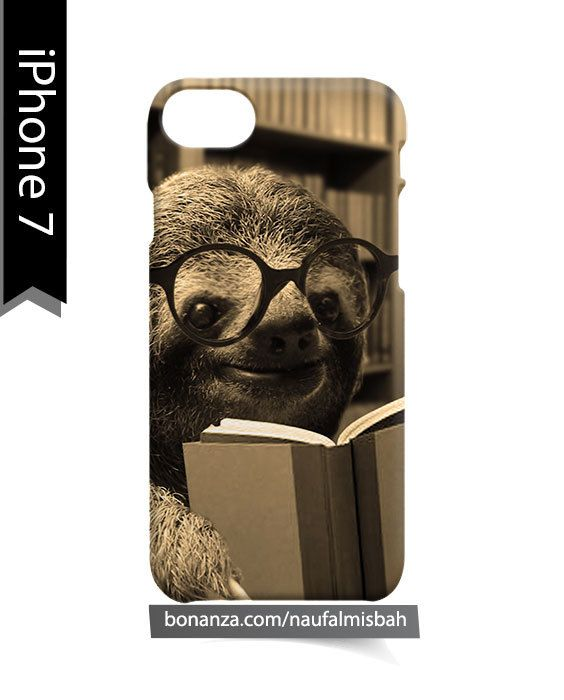 Cute Sloth Reading Book iPhone 7 Case Cover Wrap Around