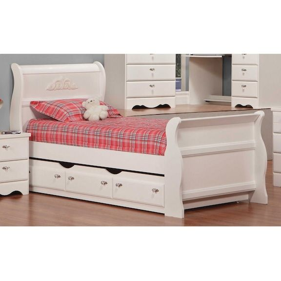 Kids Furniture - Diamond Dreams Twin Sleigh Bed w/Trundle