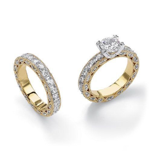 TCW Round Cubic Zirconia Yellow Gold Plated Beaded Bridal Engagement Ring Wedding Band Set On PalmBeach Jewelry