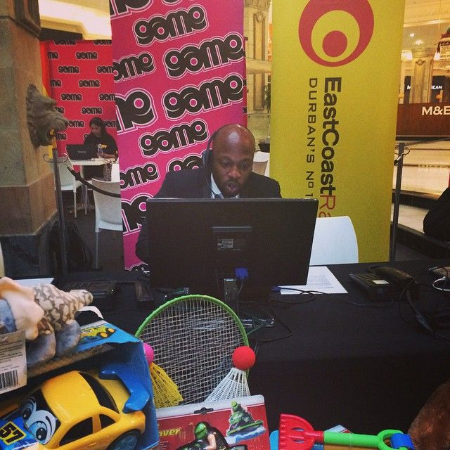 Bongani says manning the phones and being on air is very similar! Call him now on 031-265-0147 to pledge. #ECRToyStory