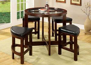 5 Piece Glass Table Top Circle Dining Set Wood Dark Walnut