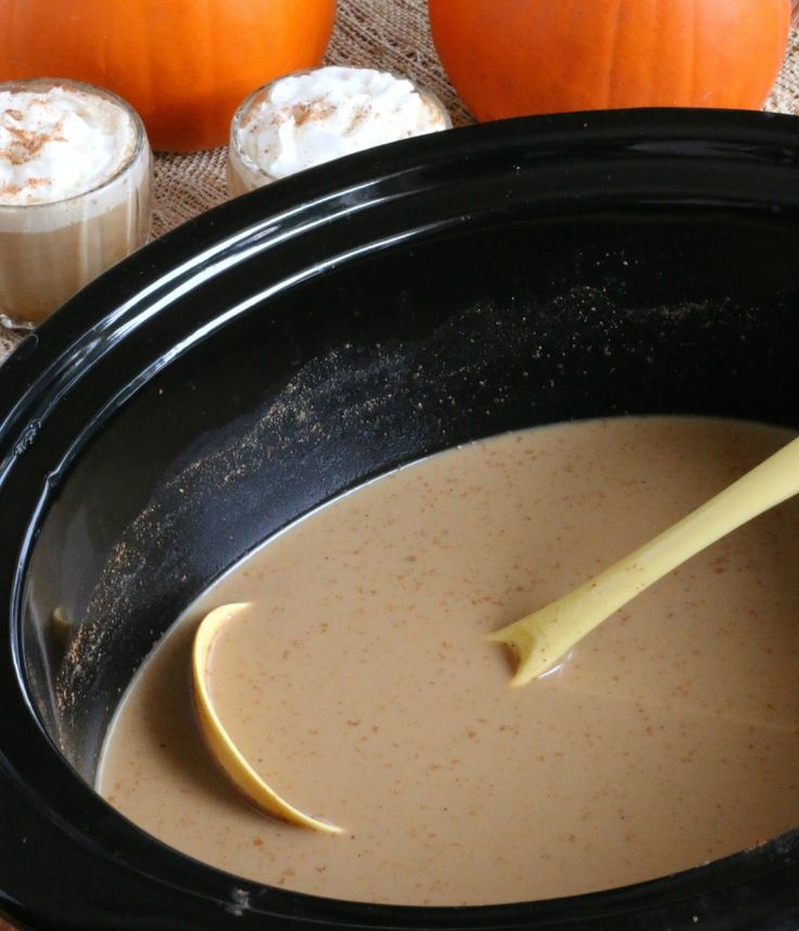 Seriously making these this weekend with decaf coffee. Slow Cooker Pumpkin Spice Lattes