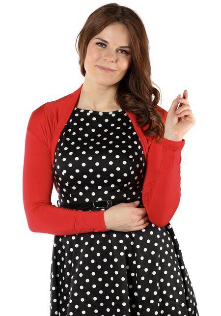 Frida Red Bolero, shrug by Banned  www.misswindyshop.com   #shrug #bolero #wearwithdresses #vintagestyle #polkadot #red #longsleeve