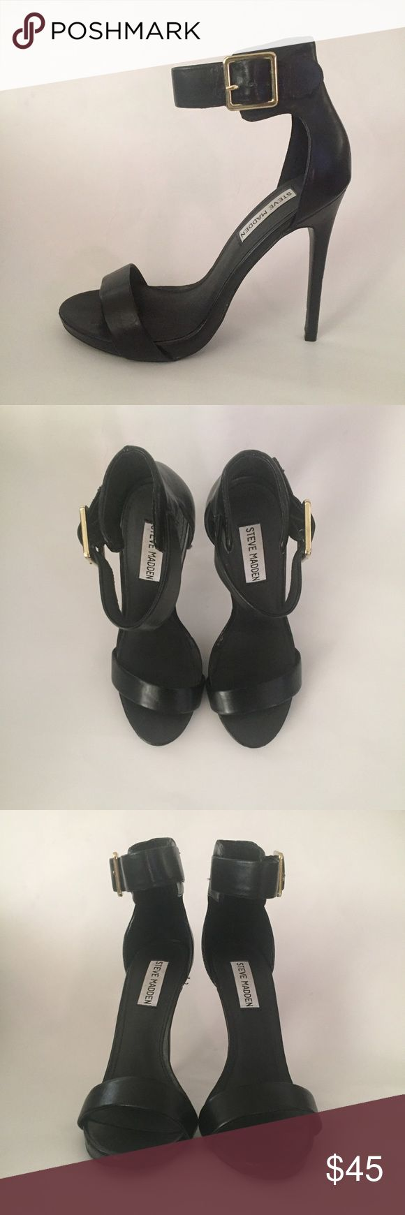 Marlenee Steve Madden black heels Cute and elegant black strap heels. Never used just used to try on. Tiny ding on one of the heels from storage. In Excellent condition. Steve Madden Shoes Heels