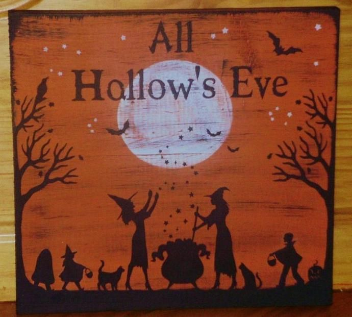 Primitive witch sign Halloween witches decorations All Hallow's Eve paintings Primitive signs sign Painting Plaque witchcraft trick or treat samhain cats paintings  by SleepyHollowPrims, $67.50 USD