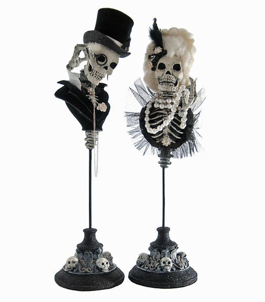 Katherine's Collection Family Portrait Halloween Collection Set Two 16.5 Skulls On Stands Free Ship