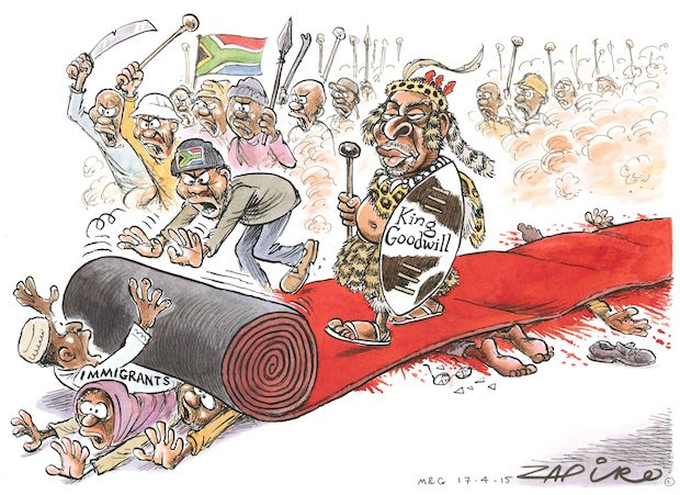 Zapiro - King Goodwill's Red Carpet published in Mail & Guardian on 17 Apr 2015