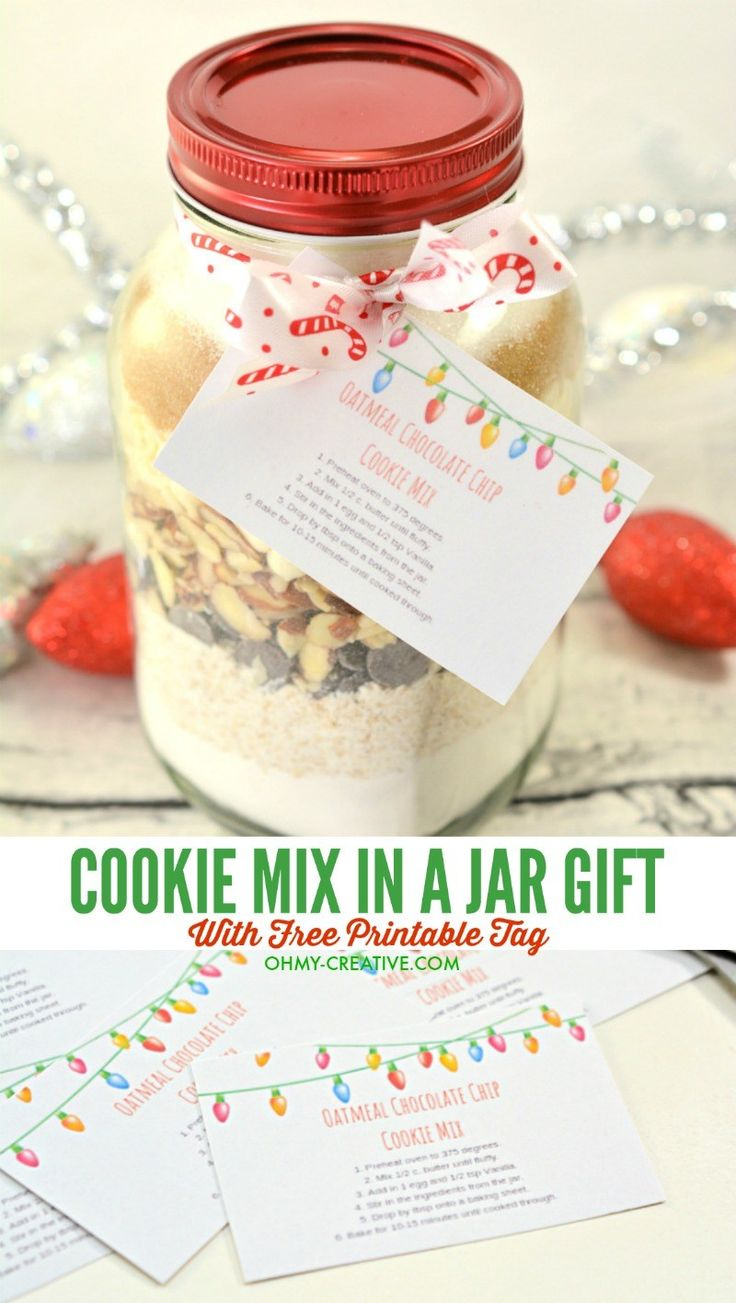 This is a photo of Canny Chocolate Chip Cookies in a Jar Printable Tags
