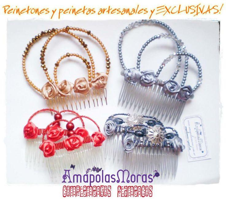 """Peinetones modelos """"Diamantes"""" y """"Oro"""". y Peinetas dobles modelos """"Gotas de Lluvia"""" rojo, y """"Filogranas 2"""" en gris. La creatividad no tiene limites! Estas peinetitas alegran cualquier peinado, y a sus dueñas tambien! AmapolasMoras - Complementos Flamencos"""