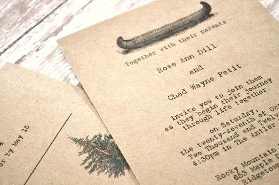 Canoe Wedding Invitations - Etsy