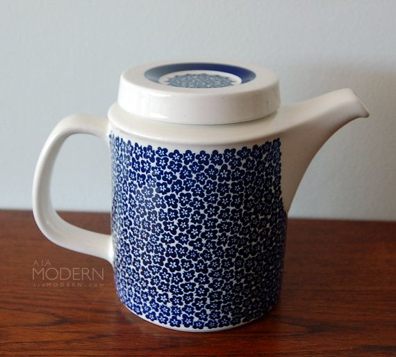 Arabia Finland Faenza Blue Coffee Pot Peter Winquist by alamodern, $75.00