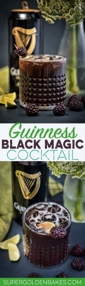 Guinness Black Magic Cocktail – bourbon, Guinnes and blackberries; the perfect cocktail for St Patrick's Day Come and see our new website at bakedcomfortfood.com
