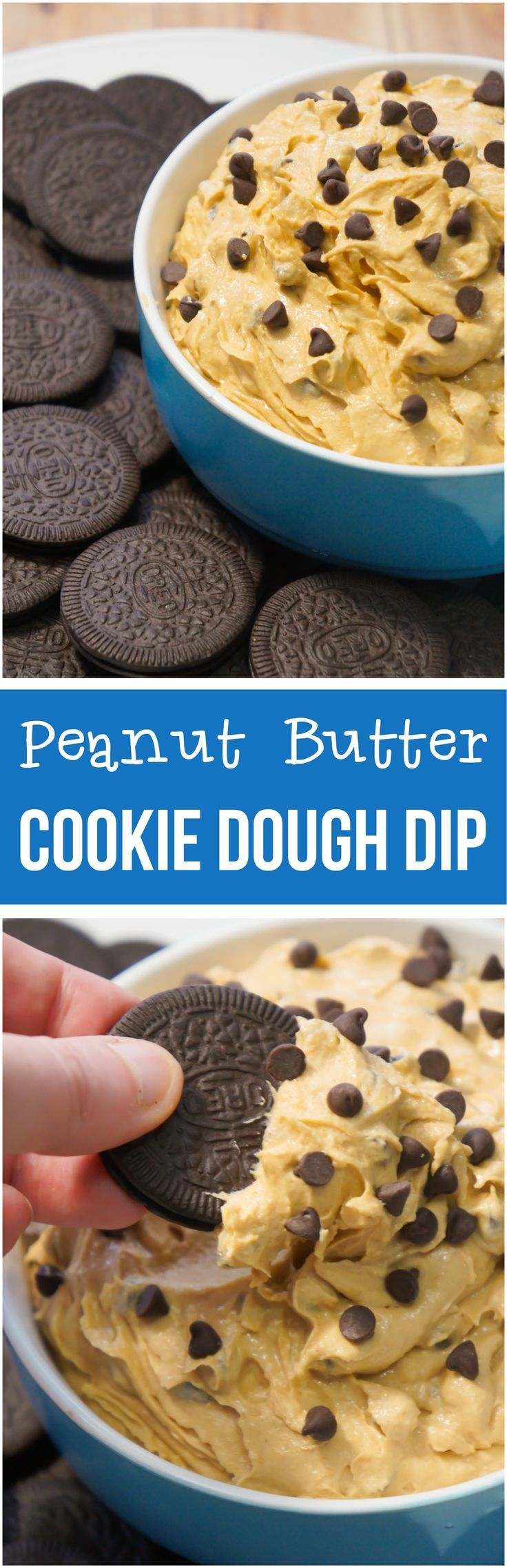 Peanut Butter Cookie Dough Dip is a no bake dessert recipe perfect for parties. This edible cookie dough dip is loaded with mini chocolate chips and served with Oreo cookies.