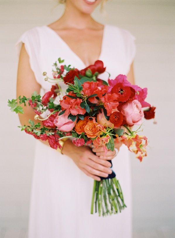 Bright Pink Red Bridal Bouquet Blue Ombre Fabric Wrapping! #brightpink #brightred #bridalbouquet #weddingbouquet #fabricwrappedbouquet #weddings #weddingideas www.gmichaelsalon.com