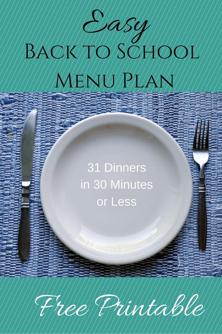 back to school menu plan, 30 minute dinners