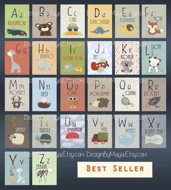 Alphabet Cards A to Z Animal Alphabet Card Set Nursery Wall Cards Animal…