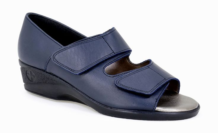 Natural Steps Handmade Genuine Leather Health Range Sandal, closed back open front with Velcro Straps. R 689. Colour: Navy Handcrafted in Durban, South Africa.  Code: 231