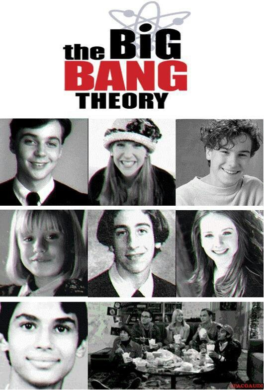 The Big Bang Theory - when they were young. Top row: Jim Parsons, Mayim Bialek, Johnny Galecki, Middle row: Kaley Cuoco, Simon Helberg, Melissa Rauch, Bottom Row: Kunal Nyar