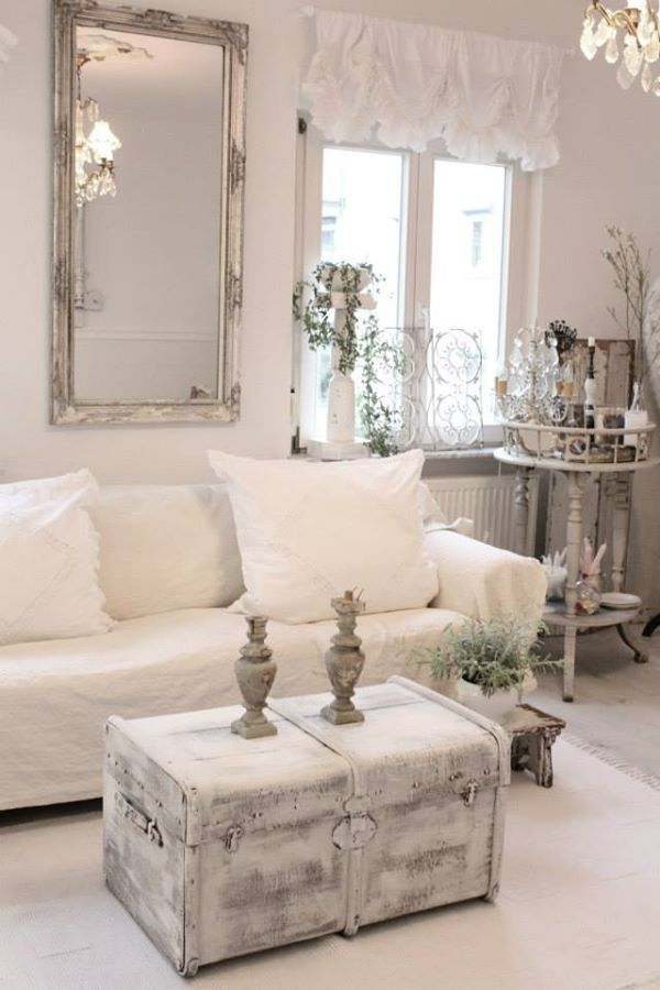 Awesome Shabby Chic Whitewashed Chest And A Framed Mirror For Living Room  Decor. Part 31