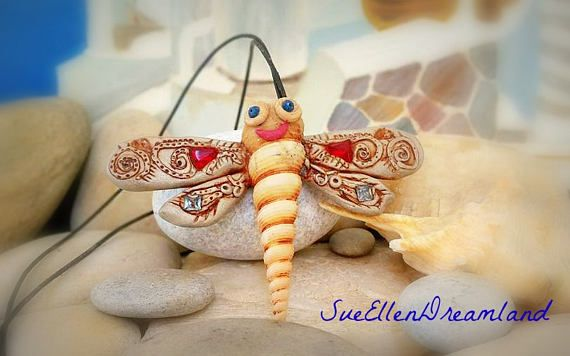 Sea shell pendant  OOAK Dragonfly long pendant polymer clay, gift for her ,Greek souvenir,ready to ship,original gift ,kids jewelry