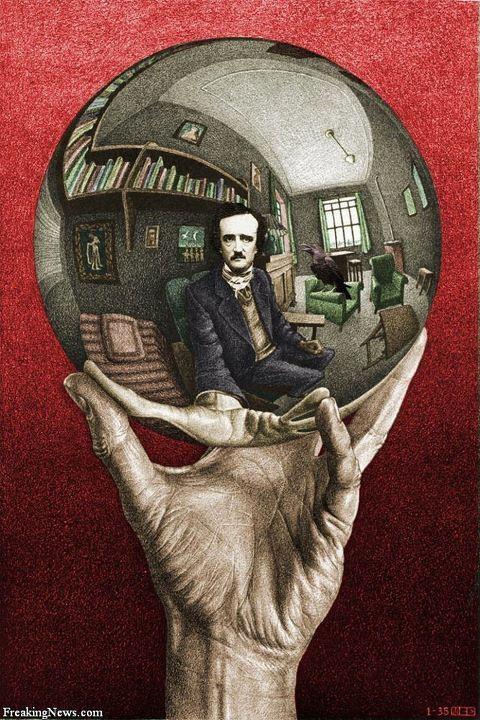 edgar allan poe: Artists, Selfportraits, Mcescher, M C, Self Portraits, Hands, Reflection Sphere, Mc Escher, Tattoo