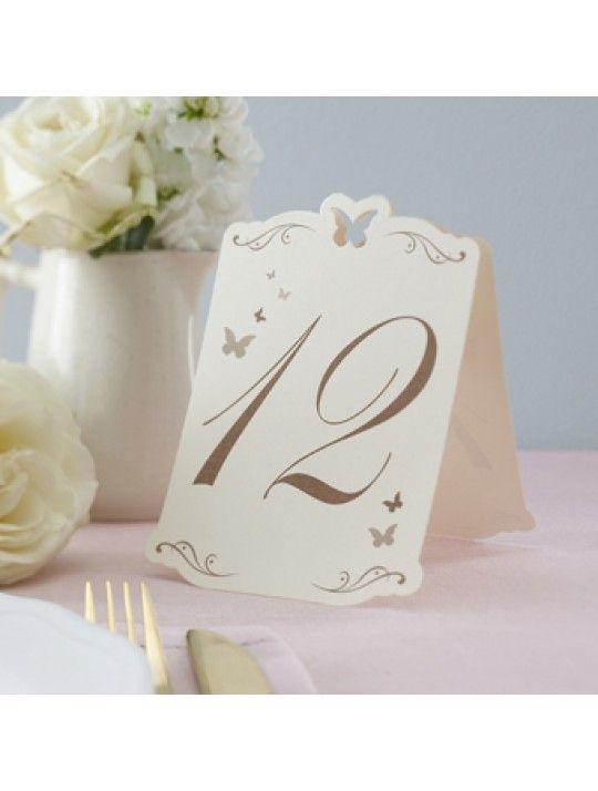 Segnatavolo farfalle oro 1-12.  Originale segnatavolo in cartoncino.  Ogni numero è stampato in oro.  I numeri vanno da 1 a 12.  Misure: 15.5 cm x 10 cm.  Ordine minimo 12 pezzi e multipli di 12. In #promozione #matrimonio #weddingday #ricevimento #wedding #segnaposto #segnatavolo #decorazioni #sconti #offerta
