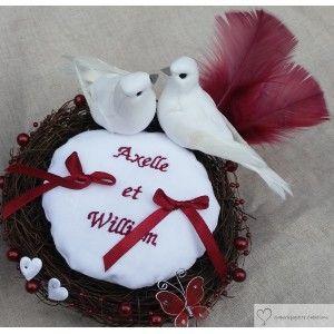 Porte alliance nid d'oiseaux bordeaux et blanc, personnalisé, Saperlipopette Création