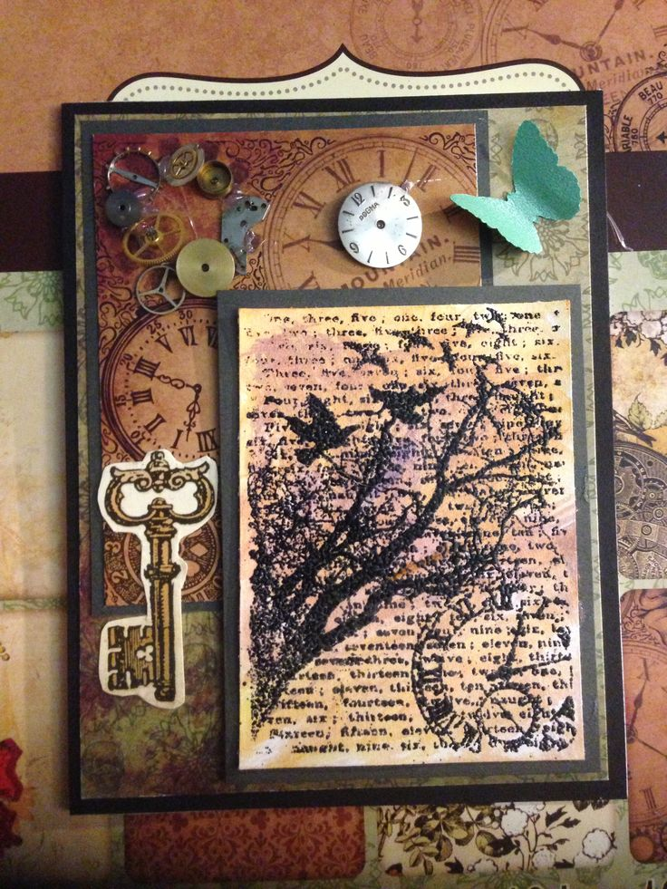 Handmade steampunk card