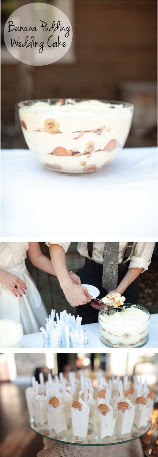 Screw a fancy wedding cake - serving up a banana pudding wedding cake is way cuter.