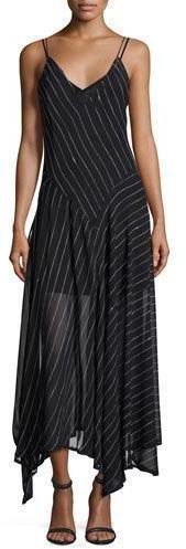DKNY Sleeveless Striped Silk Handkerchief Dress, Black