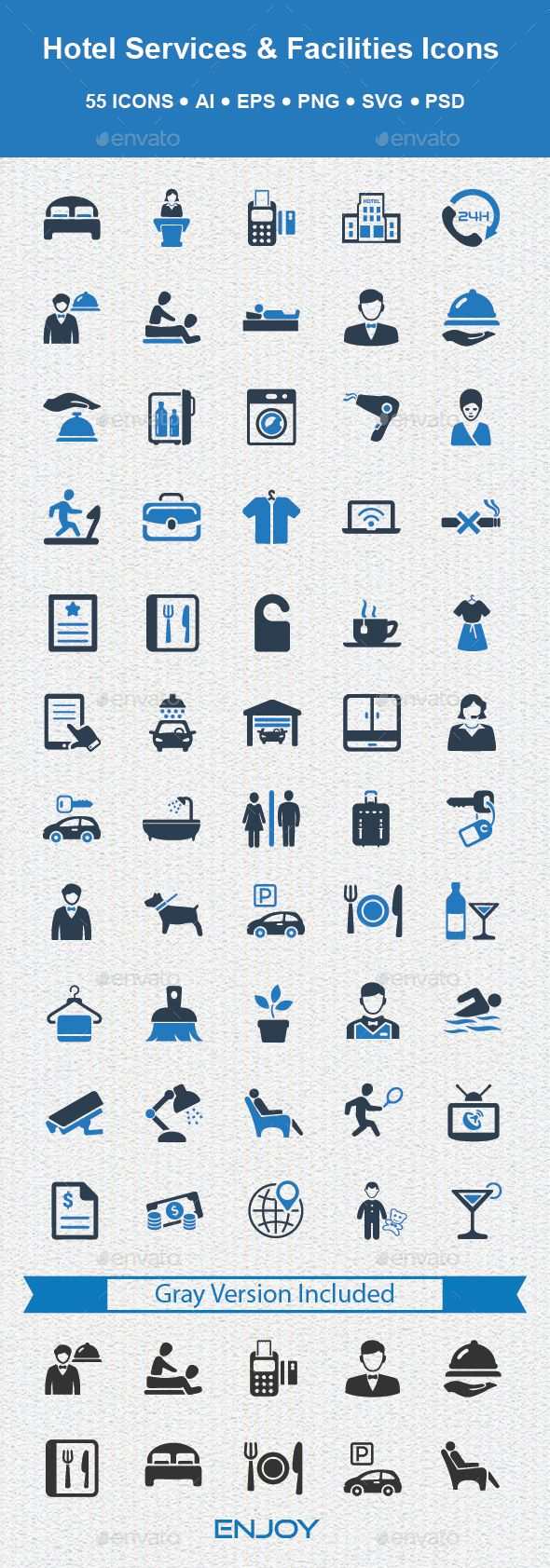 Hotel Services & Facilities Icons — Photoshop PSD #icons #swimming pool • Available here → https://graphicriver.net/item/hotel-services-facilities-icons/14976372?ref=pxcr