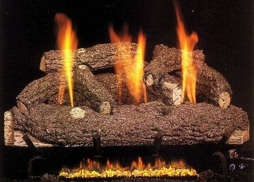 Real Fyre Forest Oak Ventless Gas Logs Set with Variable Flame Remote Pilot Kit