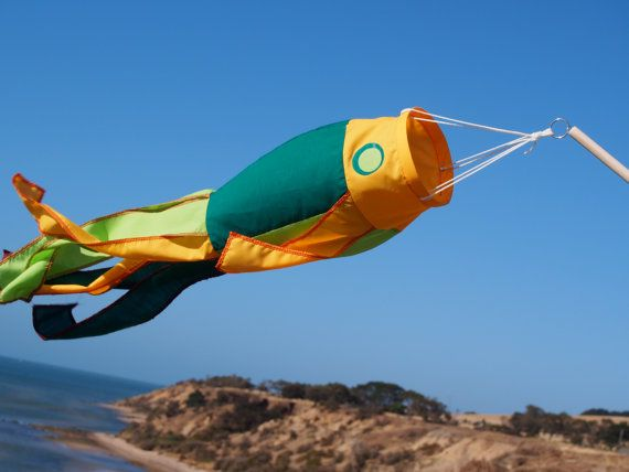 Fish windsock on stick  green and yellow by jillyinthesky on Etsy