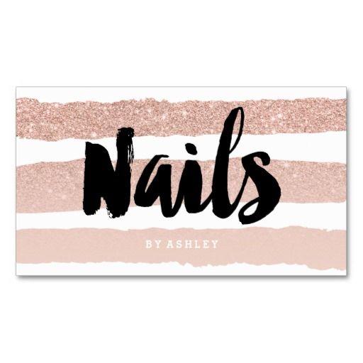 Nails artist modern typography rose gold stripes standard business card