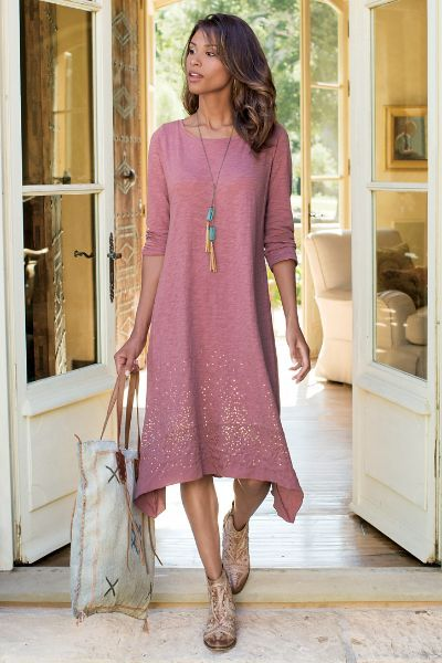 Our shimmering Starlight Dress has a generous splash of petite gold sequins in a soft slub jersey knit. 3/4 length sleeves perfect the look.