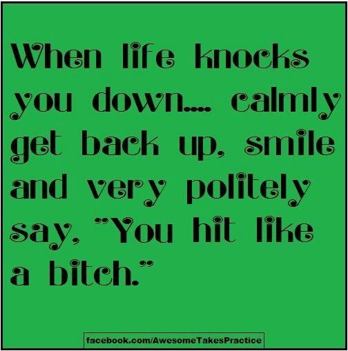 when life knocks you down...: Bitch 101, Life Quotes, Life Knock, Awesome Quotes, Motivation Quotes, Bitch Status, Funny Quotes, Quotes Life, Bitch Quotes